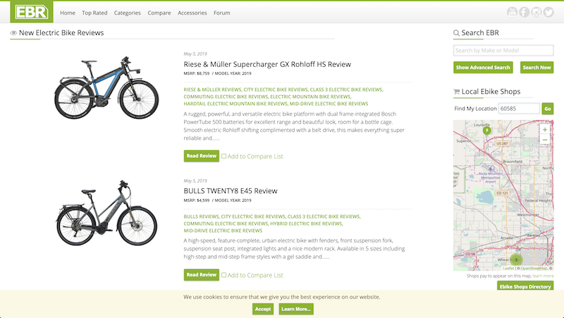 electricbikereview.com preview screenshot showing the landing page